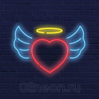 Неоновая вывеска Ангельское сердце