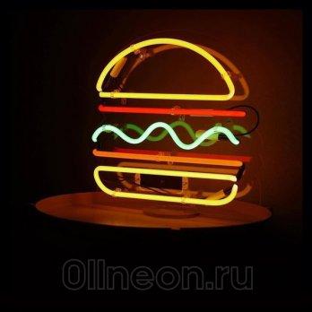 Неоновая вывеска бургер