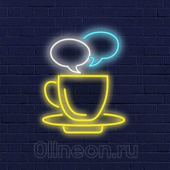 Неоновая вывеска кофе мысли