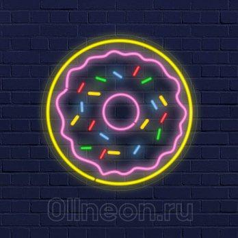 Неоновая вывеска пончик