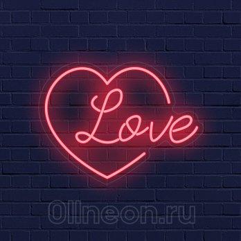 Неоновая вывеска Сердце Любовь