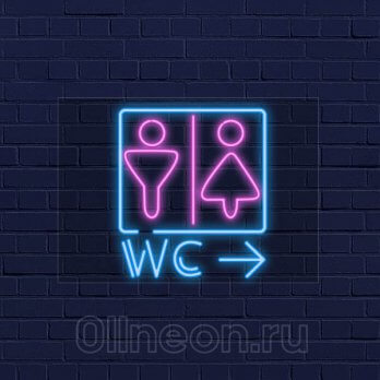Неоновая вывеска WC
