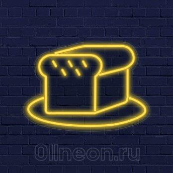 Неоновая вывеска хлеб