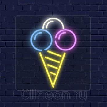 Неоновая вывеска мороженое