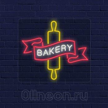 Неоновая вывеска-надпись Пекарня