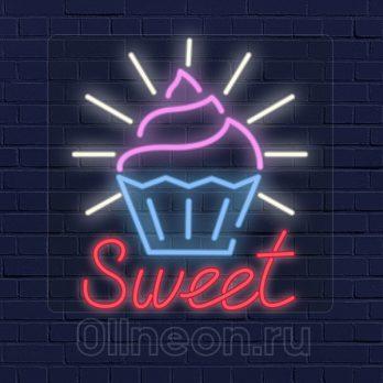 Неоновая вывеска сладости