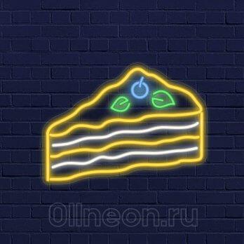 Неоновая вывеска торт