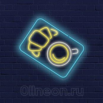 Неоновая вывеска завтрак с кофе