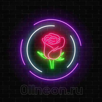 Неоновая вывеска роза в круге